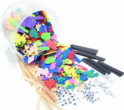 CI - Cubeta con accesorios para manualidades (500 g, letras, números, formas geométricas, animales, incluye 216 ojos movedizos, tiras adhesivas), varios colores