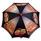 Disney Pixar Cars - Lightning Mcqueen 95 Red and Black Umbrella with Figure Handle (Children's Size) ~ Disney