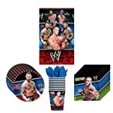 WWE Wrestling Party Supplies Pack Including Plates, Cups, Napkins and Tablecover - 8 Guests