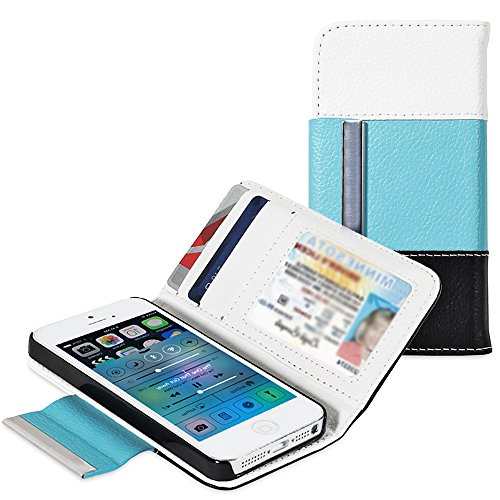 Mylife Ocean Breeze Blue - Modern Design - Textured Koskin Faux Leather (Card And Id Holder + Magnetic Detachable Closing) Slim Wallet For Iphone 5/5S (5G) 5Th Generation Smartphone By Apple (External Rugged Synthetic Leather With Magnetic Clip + Internal