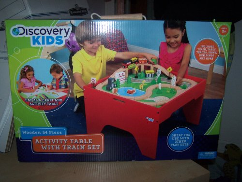 Discovery Kids Wooden 54 Piece Activity Table With Train Set front-1024593