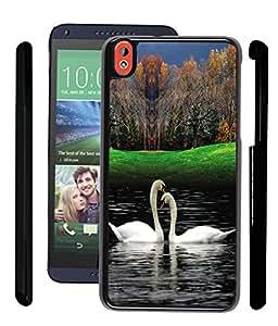 Fuson 2D Fancy Print Designer Premium Case Cover For HTC Desire 816 - Love Swan D3