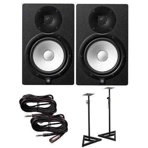 Yamaha hs8 active studio monitors w speaker stands and trs for Yamaha hs8 studio monitor speakers