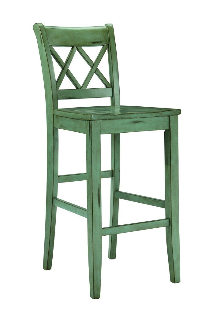 Signature Design by Ashley D540-130 Vintage Casual Pub Height Barstool, Blue/Green, Pub Height (Set of 2) 0
