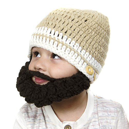 Tan Beanie with Beard - Girl Boy Toddler Kid (Large)