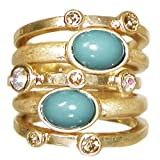 Set Of 5 Stackable Rings with Rhinestones and Faux Turquoise, Size 7, in Antique Gold with Turquoise Finish