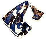 選べる3タイプ ゴルフ パターカバー ピンタイプ 裏起毛 マグネット式 PUレザー 迷彩 ブルー
