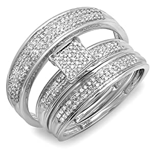 0.50 Carat (ctw) 10k White Gold Round Diamond Mens & Womens Micro Pave Engagement Ring Trio Bridal Wedding Band Set