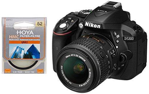 Nikon D5300 24.1MP Digital SLR Camera (Black) with 18-55mm VR Kit Lens, 8GB Card and Camera Bag + Hoya 52mm Ultraviolet UV(C) Haze Multicoated Filter