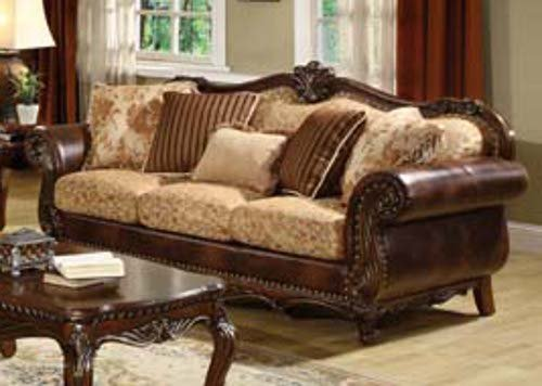 ACME 50155 Remington Bonded Leather and Fabric Sofa Brown ...
