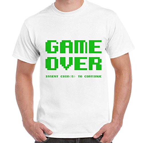 Maglietta Uomo T-Shirt Con Stampa Videogiochi Vintage Anni 80 Scritta Game Over Imperdibili, Colore: Bianco, Taglia: M