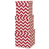 JAM Paper® Nesting Box Set - Small, Medium & Large - Fuchsia Zig Zag - 3 boxes per set