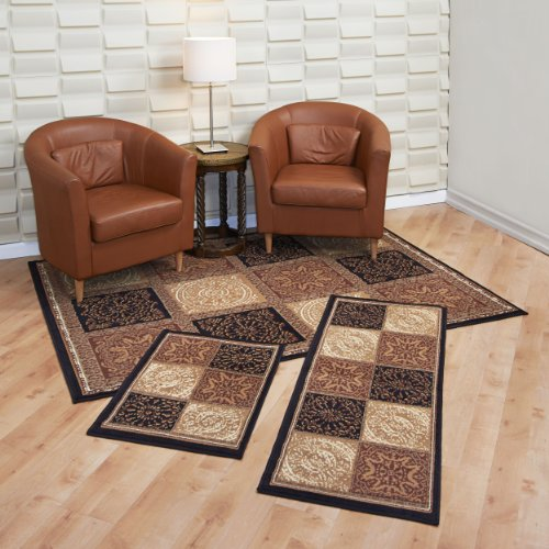 Capri carpet set of 3 piece rug set squares mat runner rug for Living room rugs amazon