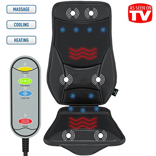 Gideon™ Luxury Cooling and Heating Ventilated Seat Cushion for Car and Home - with Vibrating Massage - 5-Level Cooling - Maximize Comfort During Travel, At Home and Office (Car Cushion Massager compare prices)
