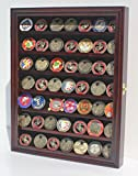 56 Military Challenge Coin Display Case Cabinet Rack Holder, with door - Mahogany Finish (COIN56-MA)