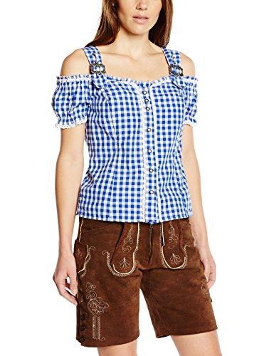 Fuchs Trachtenmoden Damen Trachten Bluse mit Carmenarm und Metall Schließe, Gr. 40 (Herstellergröße: M), Blau thumbnail