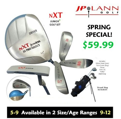 Pro Select NXT Junior Golf Club Set by JP Lann (Available in 2 Sizes: Ages 5-9, 9-12) (Ages 5-9, Right)