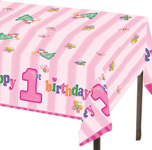 Creative Converting Fun at One Happy First Birthday Girl Plastic Table Cover, Rectangle 54 x 108""
