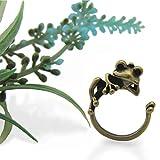 カエル リング のんびり 蛙(A) 【フリーサイズ 指輪 男女兼用 ペアリング対応】 サイズ 9号~16号 カエルが指に抱きつくようなデザイン