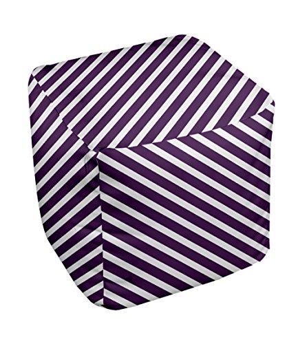 E by design Stripe Pouf, 13-Inch, 2Purple - 1