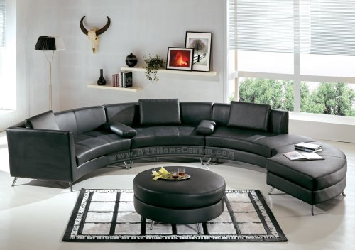 Contemporary Furniture Black Leather Curved Sectional Sofa with Ottoman and Mini Bar-Table Set