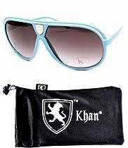 Aviator Pilot Turbo Vintage Retro Sunglasses Unisex A42-kp (blue w Khan pouch, black)