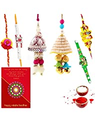 Ethnic Rakhi Designer Floral Pattern Multi-Color Fashionable And Stylish Mauli Thread And Beads Rakhi Set Of 6...