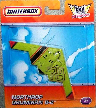 Matchbox Sky Busters Missions Lime Green NORTHROP GRUMMAN B-2 Bomber Die Cast Plane - 1