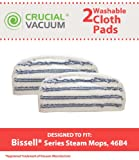 2 Bissell Washable & Reusable Pads Fit Bissell Steam & Sweep Hard Floor Cleaner Series 46B4; Replaces Bissell Part 75F5, 2032200, 203-2200; Designed & Engineered by Crucial Vacuum