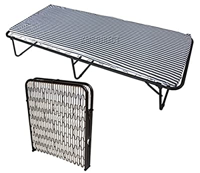 FoxHunter Metal Single Folding Guest Visitor Compact Bed With Mattress Fold Up Away Out Black White Stripe New