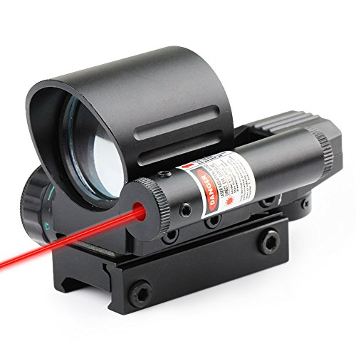 Very100 Holographic 4 Reticles Red/Green Reflex Scope W/Red Laser Sight Combo 20Mm Rail