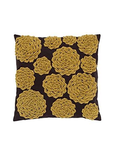 Cloud 9 Felt Circle Throw Pillow, Chocolate/Yellow