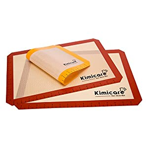 Silicone Baking Mat (Set of 3) with Measurements - 2 Standard Half Sheets, 1 Small Quarter Sheet - Non Stick Heat Resistant Liner for Bake Pans & Rolling - Professional Grade Cookie Sheets by Kimicare by Kimicare