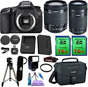 Canon EOS 7D Camera & 18-55mm IS STM & 55-250mm IS STM Lens. PagingZone Kit Includes, 2 Pcs - 16GB Class 10 Memory Card + Canon Bag + Flash + Tripod + UV Filter + Card Reader + Cleaning Kit