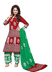 PADMiNi Ethnicwear Women's Dress Material Red Free Size