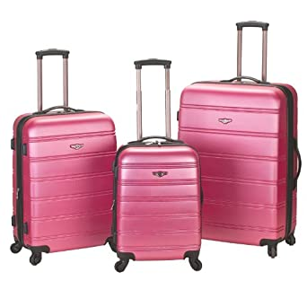 Rockland Luggage Melbourne 3 Piece Abs Luggage Set, Pink, Medium