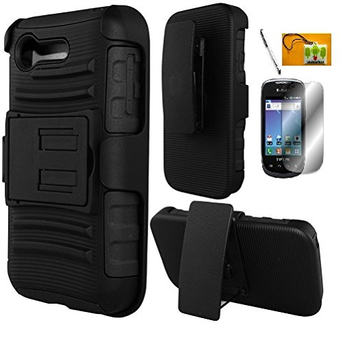 LF 4 in 1 Bundle - Black Hybrid Armor Stand Case with Holster and Locking Belt Clip, Lf Stylus Pen, Screen Protector & Droid Wiper Accessory for (Verizon) LG Optimus Zone 2 VS415PP, L34C Fuel (Straight Talk, Tracfone, Net 10) (Holster Black) (Lg Optimus Fuel Tracfone compare prices)