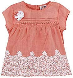 Infant Girls Blouse With Panel Print, Orange (3-6 Months)