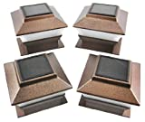 Set of 4 Bronze Finish Solar Power Light for 4 x 4 Deck & Post Cap