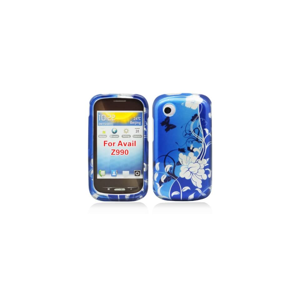 BLUE FLOWER Hard Plastic Protector Case Cover For ZTE AVAIL Z990 (AT&T)