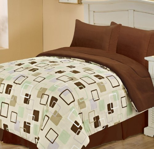 Chic Home Square Back To Campus Reversible Comforter, Twin, Brown