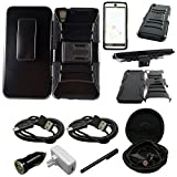 Mstechcorp -ZTE Quartz Z797C Armor Series - Heavy Duty Dual Layer Holster Case Kick Stand with Locking Belt Swivel Clip - Includes [Wall Charger Data Cable] + [Car Charger Data Cable] + [Touch Screen Stylus] + [2 Cables] + [Hands Free Earphone] (HOLSTER BLACK)