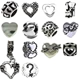 Timeline Trinketts Antique Silver Charm Bracelet Beads Fits Pandora Jewelry Spacers - Happy Hearts
