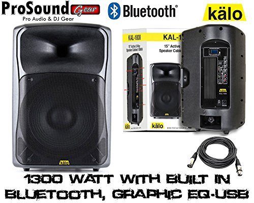 "Kalo 215Abt 15"" Active/Powered Dj/Pa Wireless Speakers Totaling 1300 Watt With Built In Bluetooth, Graphic Eq - Xlr Cable 15Ft"