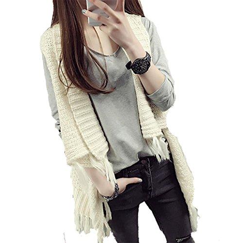 LI Le donne indossano sciolto maglioni maglioni donna scialle tinta unita gilet nappe formato libero , 5
