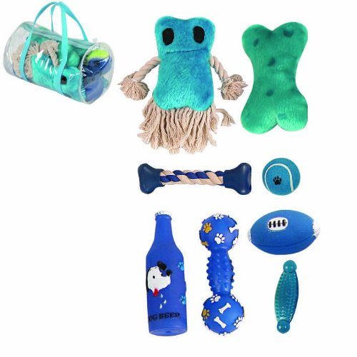 Image 8 Piece Duffle Bag Pet Toy Set, One Size, Blue