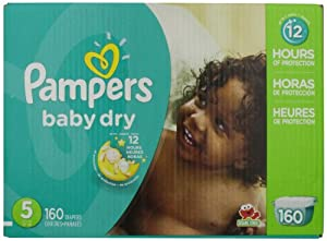Pampers Baby Dry Diapers Size 5 Economy Pack Plus 160 Count