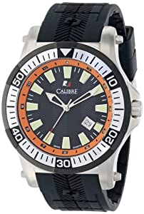 "Calibre Men's SC-4H1-04-007.079 ""Hawk"" Stainless Steel and Black Rubber Watch"
