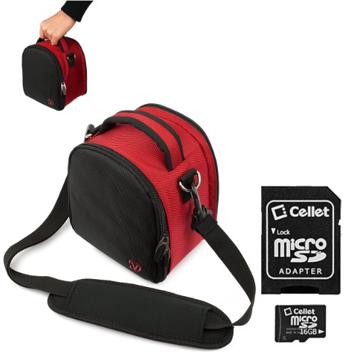 Red Slim Holster Camera Bag Carrying Case Will Easily Hold Your Camera, Battery Charger, Memory Cards, And Accessories For Nikon Coolpix L24 P300 S70 S80 S100 S1100Pj S1200Pj S2500 S3100 S4100 S5100 S6100 S6200 S8100 S8200 D90 Coolpix Aw100 Coolpix P7000