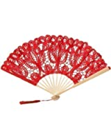 The 1 for U Hand Made Lace Fan - Red